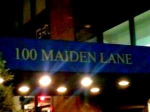 100 Maiden Lane sign